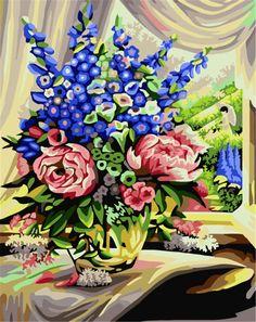 Горячая распродажа безрамное настенные панно искусства по номерам ручной росписью маслом на холсте домашнего декора фиолетовый цветок G001купить в магазине Yiwu Xinshixian Arts and Crafts Co., Ltd.наAliExpress