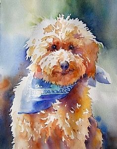 Golden Doodle by Yvonne Joyner Watercolor ~  x