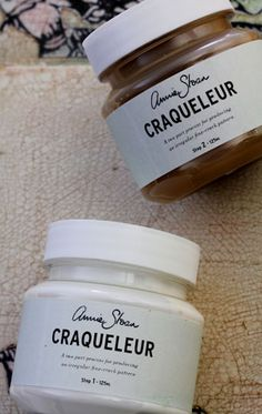 "Craqueleur -""Annie Sloan Craqueleur is a two-part set for achieving a crackled finish like the cracked varnish on an old master painting. The size of the cracks can be varied according to how fine a layer of the Step 2 is applied in particular. The thinner it is, the smaller the cracks."""