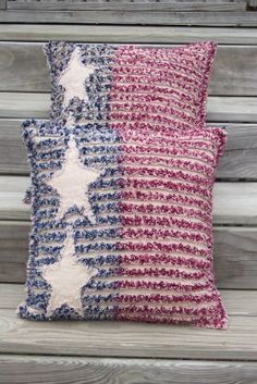 Americana Rag Quilt Chenille Throw Pillow Cover