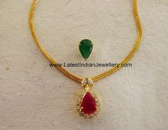 Simple Elegant Necklace with Interchangeable Gemstone Pendant | Latest Indian Jewellery Designs