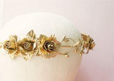 Gold flower crown, Golden floral circlet, Bridal headpiece, Grecian wedding crown, Bridal crown, Woodland, Gold wedding, Wedding Hair on Etsy, $65.00