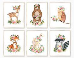 Woodland Nursery Girl. Baby Girl. Girl Woodland Nursery. Woodland Animals Nursery Art. Woodland Nursery Prints. Boho Animals Nursery Art.