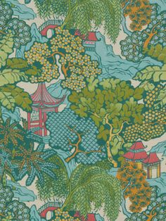Beacon Hill Hidden Temple - Emerald Fabric, Midnight Garden Collection, $89.99 per yard
