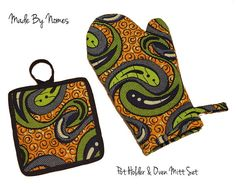 African Print Oven Glove. Green, Blue, Orange. or Oven Glove and Pot Holder set. For sale at www.madebynomes.etsy.com
