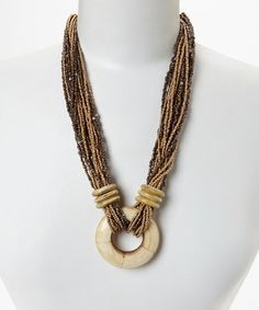 Brown Beaded Multi-Strand Pendant Necklace - regularly $22, Zulily price $7.99 5/17/2014
