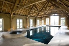 This superb barn conversion was renovated to house an indoor swimming pool and spa with a large amount of space surrounding the space for socialising and entertaining guests, while the pool is large enough for exercise.