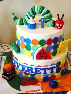 The Very Hungry Caterpillar, by Eric Carle Birthday Party Ideas Baby Boy 1st Birthday Party, First Birthday Parties, First Birthdays, Birthday Ideas, Birthday Cake, Hungry Caterpillar Cake, Amazing Cakes, It's Amazing, Cute Cakes