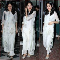 Janhavi Kapoor looks pretty as she gets snapped by the shutterbugs outside a restaurant! Asian Wedding Dress, Indian Wedding Outfits, Indian Outfits, Indian Gowns Dresses, Pakistani Dresses, Pakistani Kurta, Salwar Kurta, Indian Attire, Indian Ethnic Wear