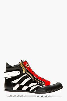 Giuseppe Zanotti Black & Red Zebra Calf-hair Blitz Birel Sneakers for men Giuseppe Shoes, Giuseppe Zanotti, Men's Shoes, Shoes Sneakers, Male Shoes, Dapper Men, Rocker Chic, Clothes Horse, Leather Sneakers