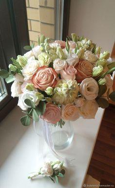 Купить Букет невесты из полимерной глины в персиковых тонах - бежевый, букет невесты, свадебный букет