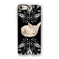 Sleeping Fennec Fox Feather Burst (B&W Impressions) - iPhone 7 Case,... ($40) ❤ liked on Polyvore featuring accessories, tech accessories, iphone case, iphone cover case, apple iphone case, iphone cases and slim iphone case