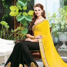 Yellow & Black Chiffon Embroidered Work Designer Saree