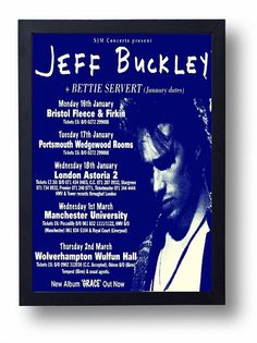 Jeff Buckley Framed Gig Poster Print by indieprints on Etsy, $20.00