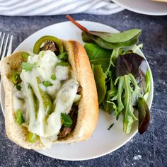 philly cheese steak sandwich smothered in provolone cheese Philly Cheese Steak Sandwich, Steak Sandwich Recipes, Easy Weeknight Meals, Easy Meals, Homemade Philly Cheesesteak, Balsamic Vinaigrette Recipe, Mac And Cheese Bites, Easy Healthy Recipes, Healthy Meals