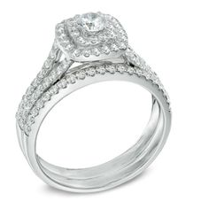 7/8 CT. T.W. Diamond Double Square Frame Bridal Set in 14K White Gold - View All Rings - Zales