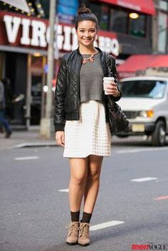 Nice texture - quilted jacket and waffled sweater to the embossed skirt and ribbed socks