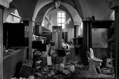 abandoned library  #books #black #white