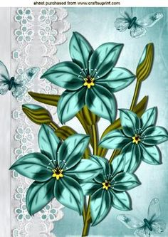 PRETTY BLUE FLOWERS ON BRODERIE ANGLAISE A4 on Craftsuprint - Add To Basket!