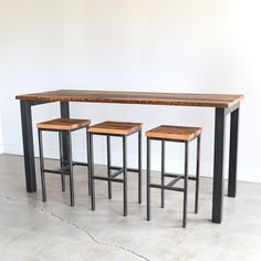 Pub Table made from Reclaimed Wood / Industrial Kitchen Table / Rustic Bar Table / Commercial Table Metal Leg Dining Table, Bar Dining Table, Wood Bar Table, Counter Height Pub Table, Wood Bar Stools, Bar Chairs, A Table, Reclaimed Wood Bars, Reclaimed Wood Kitchen