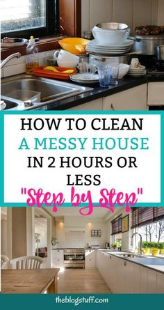 clean house Want to know how to clean a messy house step by step Or how to clean a house fast and properly Discover how to clean your house in 2 hours or less with this easy house cleaning schedule and tips Speed Cleaning, Household Cleaning Tips, Deep Cleaning Tips, Diy Cleaning Products, Cleaning Hacks, Cleaning Recipes, House Cleaning Checklist, Clean House Schedule, Tips On Cleaning House