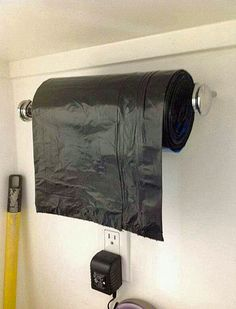 For easy access to your trash bags, mount them on a towel holder in your pantry, mudroom or garage.