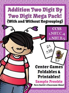 #FreebieFriday ~ #FREE Valentines Day Two Digit By Two Digit Addition Center, Foldable and Printable