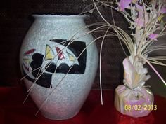 Pottery Sailboat Flower Vase Ceramic Cloud by NAESBARGINBASEMENT, $20.00