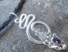 925 STERLING SILVER LEATHER NECKLACE With  DRAGON PENDANT-- AMETHYST