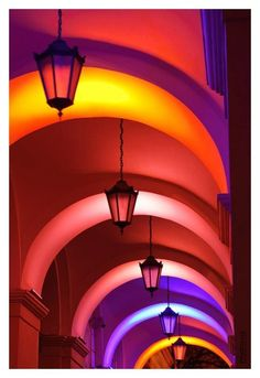 This picture shows how light significantly impacts color.  In this picture each arch is different than the next, this is because of the way the light is reflecting off of the colored walls.