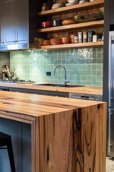 Recycled messmate floating shelves, benchtop with sink cutout and double waterfall island bench. thick and cut from meter long sticks so the grain can run continuously over the waterfall edge. Made in Melbourne, supplied to Australia. Timber Kitchen, Wooden Kitchen, Cottage Kitchen Cabinets, Kitchen Cabinetry, Kitchen Benchtops, Kitchen Backsplash, Country Kitchen, New Kitchen, Kitchen Interior