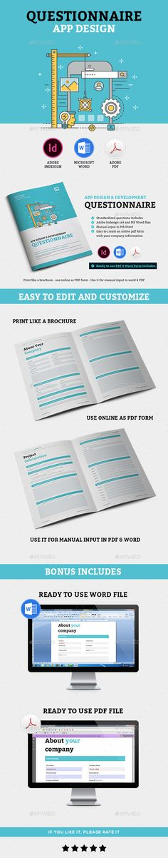 InDesign App design questionnaire  Template • Only available here ➝ http://graphicriver.net/item/app-design-questionnaire/16361513?ref=pxcr