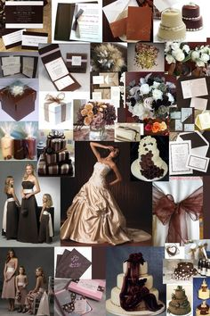 wedding champagne and chocolate theme | Chocolate wedding colour theme by www.glamourousgowns.co.uk