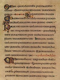 """Uncial script - Wikipedia The Book of Kells, c. AD is lettered in a script known as """"insular majuscule"""", a variety of uncial script that originated in Ireland. Script Writing, Script Lettering, Typography, Writing Letters, Book Of Kells, Illuminated Letters, Illuminated Manuscript, Arte Latina, College Library"""