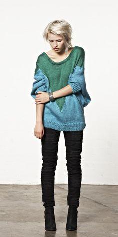 two-tone chunky sweater