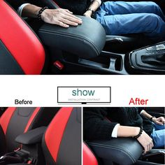 1 PCS DIY Car styling PU Leather Heighten Memory cotton central armrest box cover case stickers for Ford Focus 2015 accessorie