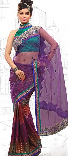 $59.03 Bluish Purple and Red Brasso and Net Latest Fashion Saree 16710 With Unstitched Blouse