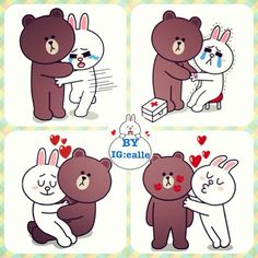 Brown & Cony 2 your heart ❤ Cartoon Gifs, Cartoon Characters, Line Cony, Cony Brown, Funny Emoticons, Chibi Cat, Cute Couple Cartoon, Cute Love Gif, Bunny And Bear