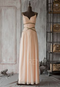 2015 Long Coral Bridesmaid DressChiffon Halter Prom by RenzRags