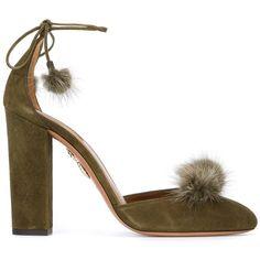 Aquazzura 'Wild Russian' pumps (46.800 RUB) ❤ liked on Polyvore featuring shoes, pumps, aquazzura, green, heels, mink, green shoes, leather shoes, real leather shoes and leather pumps