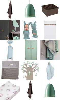 Kinderkamer in mint en taupe for boys and girls