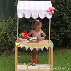 "A small bite of mondocherry - IKEA hack: Joy (& talented hubby) re-purposed their old change table into a child's ""stall"" for shop/lemonade stand etc. LOVE her style! Might do the same for ours to display cakes on for parties....."