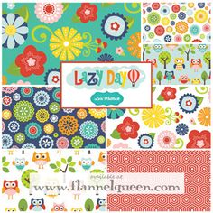 Fat Quarter Bundle - Lazy Day Flannel by Riley Blake-Riley Blake Designs Flannel Fabric Fat Quarter Bundle lazy day fq lori whitlock owl flower teal navy red blue green yellow