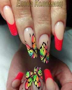Creative Nail Designs, Toe Nail Designs, Creative Nails, Crazy Nail Art, Crazy Nails, Fancy Nails, Pretty Nails, Nail Art Modele, Butterfly Nail Art