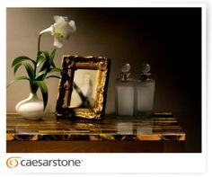 Caesarstone Concetto #8630 Tiger Eye; livingroom, table, flower, picture. www.caesarstone.sg