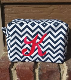 Chevron Makeup Bag - Bridesmaid Gift - Bridal Shower Gift - Birthday Gift - Monogrammed Makeup Bag - Personalized Cosmetic Bag - Embroidery