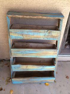 Painted angle pallet shelf #PalletJunky