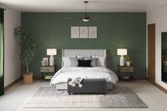 Olive Green Bedrooms, Olive Bedroom, Green And White Bedroom, Green Bedroom Walls, Green Master Bedroom, Sage Green Bedroom, Green Bedroom Decor, Green Accent Walls, Accent Wall Bedroom