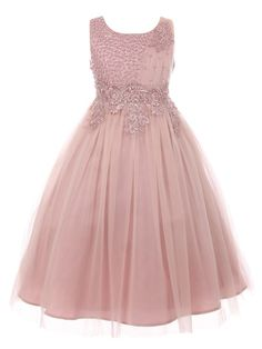 dusty rose wedding A Cinderella Couture dress for flower girls reflecting great style, high quality and a feminine touch. Elegant pearls beaded coiled lace tulle satin dress with inv Blush Flower Girl Dresses, Dusty Rose Bridesmaid Dresses, Tulle Flower Girl, Dusty Rose Dress, Tulle Flowers, Blush Dresses, Little Girl Dresses, Satin Dresses, Girls Dresses