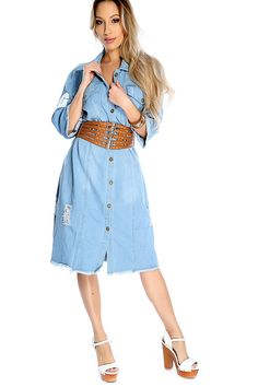 Make a statement with this cute  and stylish denim dress! Featuring collar, above knee length, half sleeves, button up front, front pockets, and distress detailing. 100% Cotton